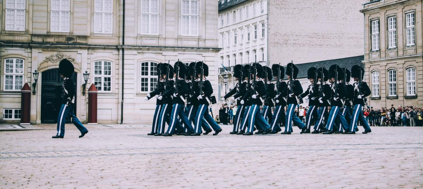 Changing of The Royal Guard at Amalienborg Palace in Copenhagen,