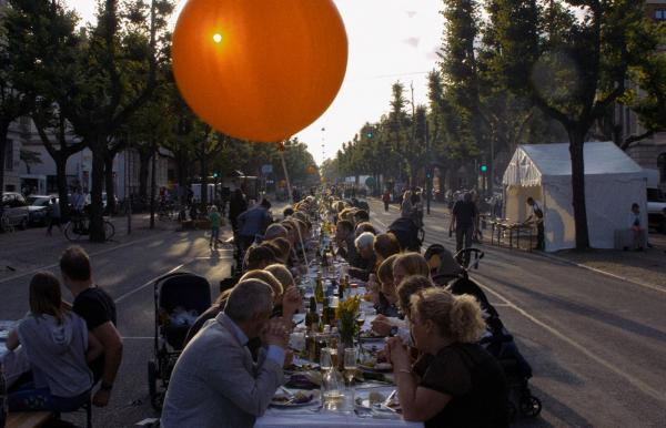 Longtables at the harvest festival in Frederiksberg