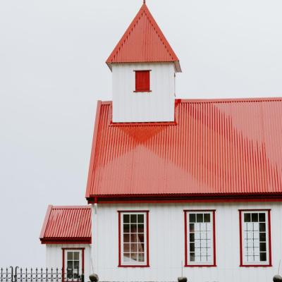 Red and white church in the Faroe Islands -  Isole Faroe