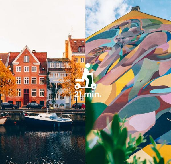 Colourful house and street art in Copenhagen